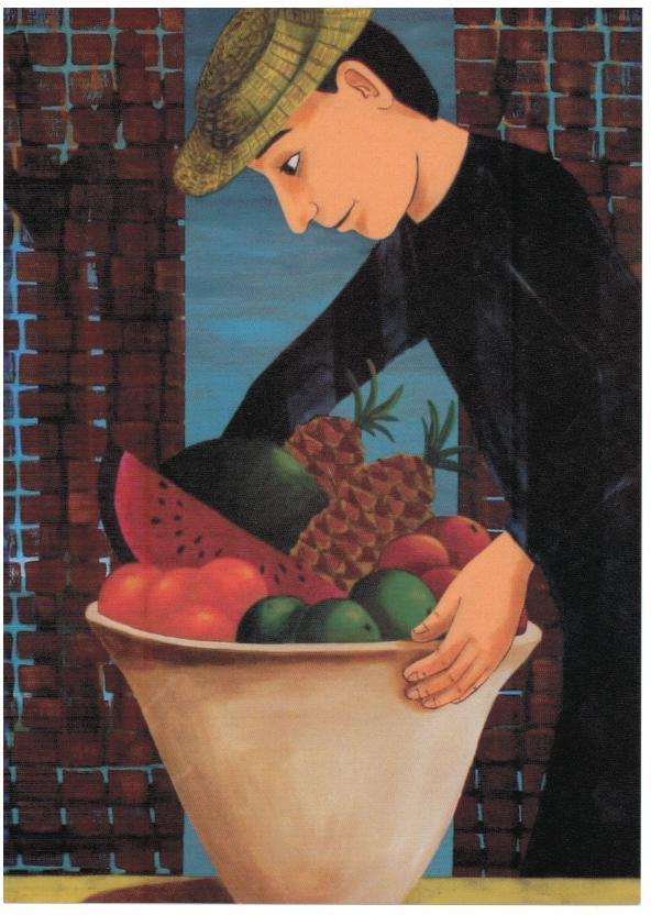 Mand med hat og høj frugtskål. Caroline Krabbe